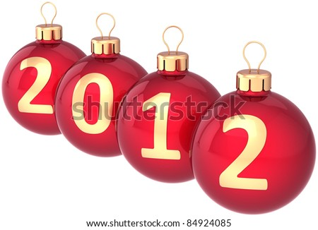 New 2012 Year baubles Christmas balls colored red decorated with golden date. Beautiful Traditional Xmas decoration. Calendar design element classic. Detailed 3d render. Isolated on white background
