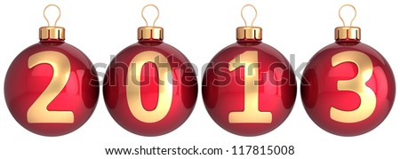 New 2013 Year baubles Christmas balls decoration colored red decorated with gold calendar date countdown. Merry Xmas greeting card. Detailed 3d render. Isolated on white background
