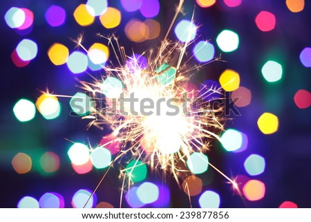 New year 2015 Bengal lights in the form of stars on the shine background