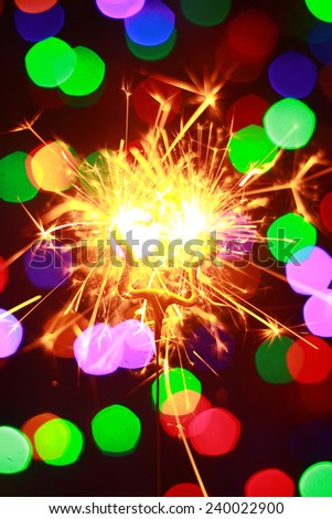 New year Bengal lights in the form of stars on the shine background