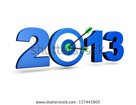 New year 2013 business goals concept with blue sign, target and two arrows on green centre. On white background.