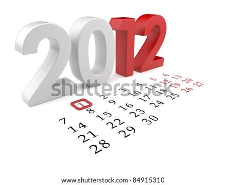 New year 2012. Calendar 3d illustration isolated