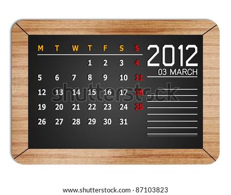 new year calendar 2012 thai on background blackboard