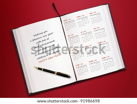 New year 2012 Calendar with conceptual image of new year greeting.