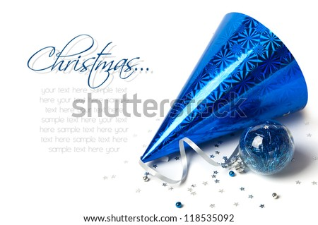 New Year cap and Christmas decoration - stock photo