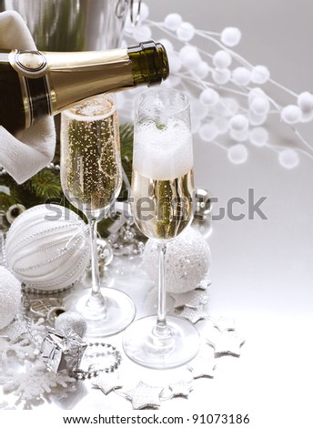New Year Card Design with Champagne