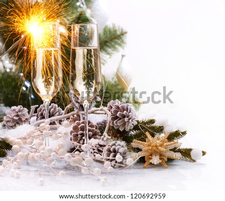 New Year Card Design with Champagne. Christmas Scene. Celebration. Sparkles