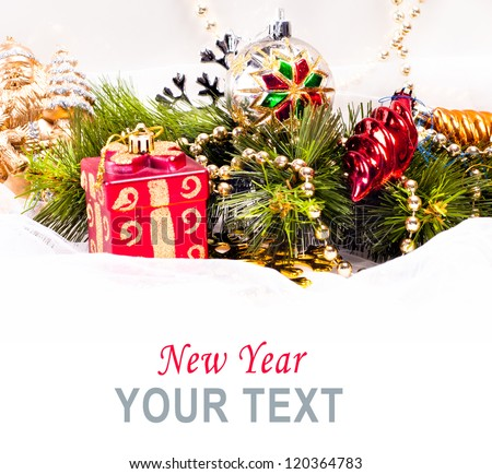 New year card with beautiful color decorations, fur tree and place for text