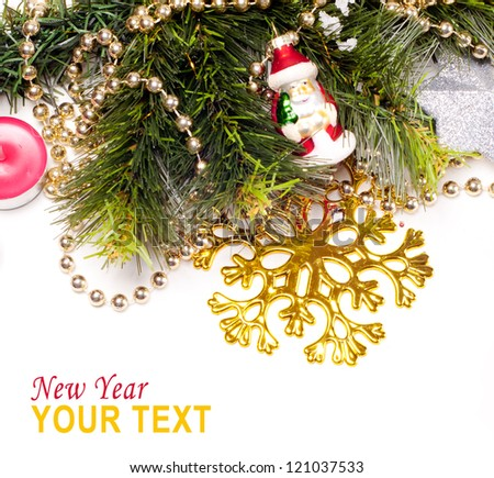 New year card with beautiful color decorations, furtree and place for text