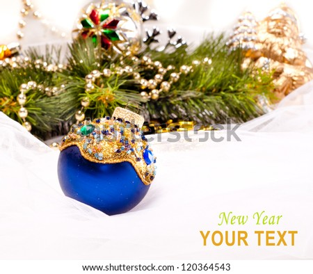 New year card with beautiful decoration ball and place for text