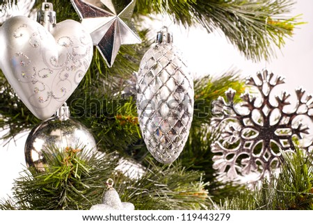 New year card with beautiful decorations on fur tree