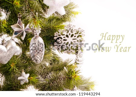 New year card with beautiful decorations on fur tree and place for text