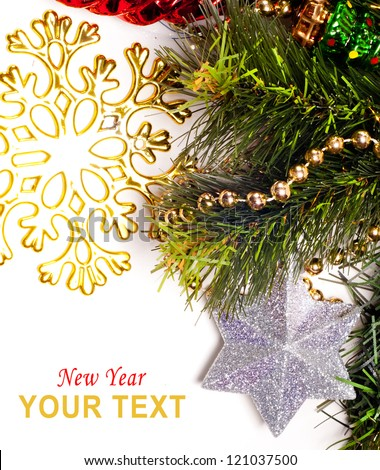 New year card with beautiful star, fur tree and place for text