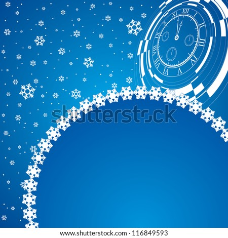 new year card with christmas decor, abstract watch on snowflakes background