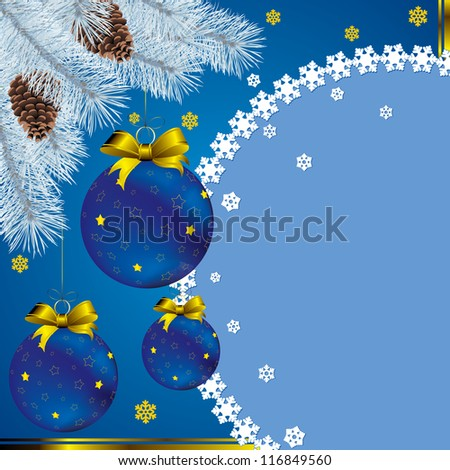 new year card with christmas decor, on snowflakes background