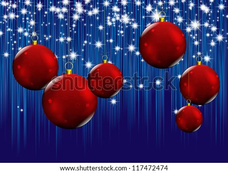 new year card with christmas red balls, on stars and strips blue background