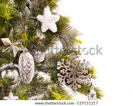 New year card with decorations and fur-tree