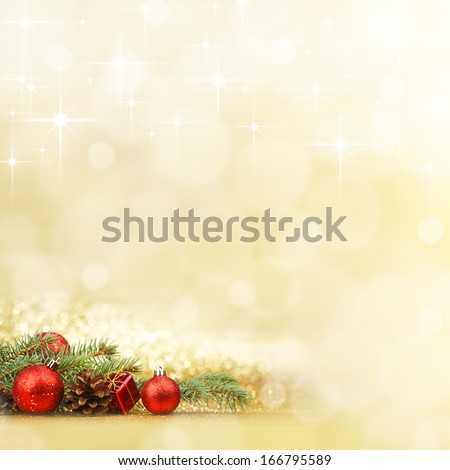 New year card with fir branch and decoration on shiny stars background #166795589