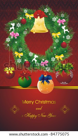new year card with stars on orient red and green wreath fir wreath and color christmas decorations