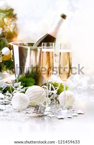New Year Celebration. Champagne flutes. Blinking Background