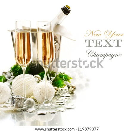 New Year Celebration.Champagne flutes.Isolated on a White Background