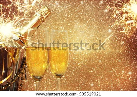 New Year Celebration, christmas background with champagne. #505519021