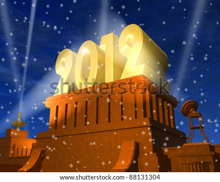 "New Year 2012 celebration concept: shiny golden ""2012"" on pedestal in a snowy weather"