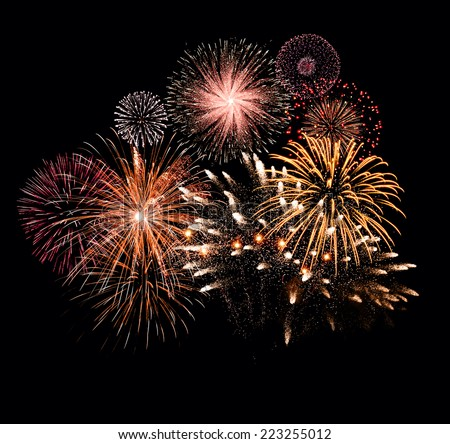 New Year celebration fireworks stock photo