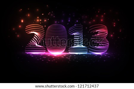 New Year celebration illustration, colorful lights elements