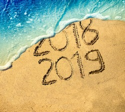 New year 2019 celebration on the beach