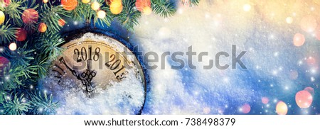 New Year 2018 - Celebration With Dial Clock On Snow - Vintage Effect #738498379