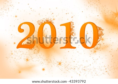 New year 2010 celebration with floral background in orange