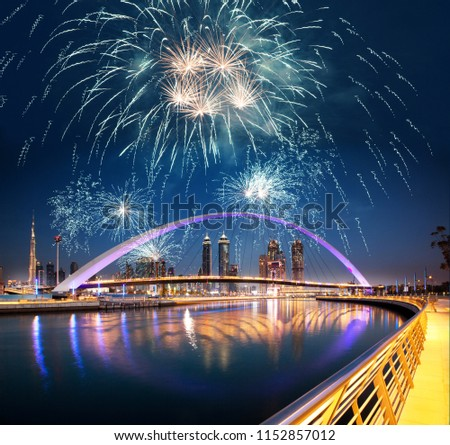 new year celebrations in Dubai - fireworks over Dubai downtown and tolerance bridge