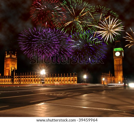 Fireworks London New Years Eve. stock photo : New Year