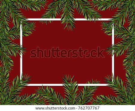 New Year Christmas. Green spruce branches in a circle on a red background. Frame for advertising and ads. Isolated  Illustration #762707767