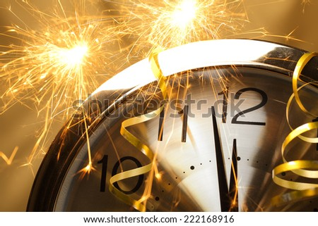 New year clock with fireworks