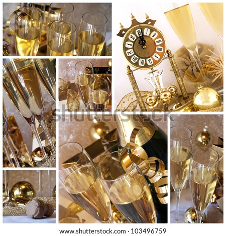New year collage. Clock, champagne, candle, golden balls and ribbon  - collage or collection
