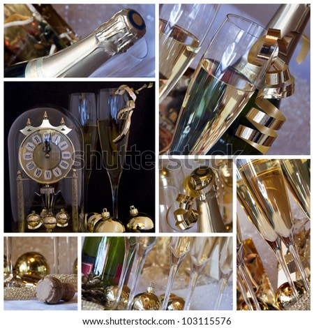 New year collage. Clock, champagne, candle, golden balls and ribbon in white background and old light - collage or collection - old style