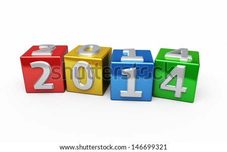 New Year 2014 colorful cube (isolated on white and clipping path)