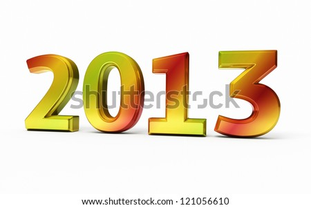 New Year 2013 colorful render (isolated on white and clipping path)