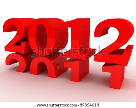 new year 2012 comming soon 3d red symbol