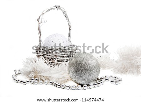 New Year composition with white and silver balls