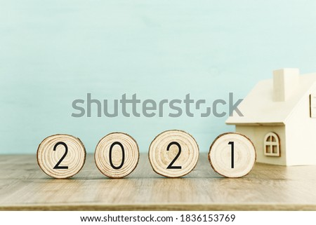 New year 2021 concept. business idea over wooden board ストックフォト ©
