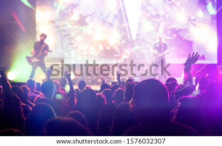 New Year concept - fireworks and cheering crowd celebrating the New Year Foto stock ©