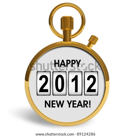 New Year 2012 concept: golden storwatch with greeting text isolated on white background