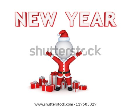 New year concept.Isolated on white background.3d rendered.