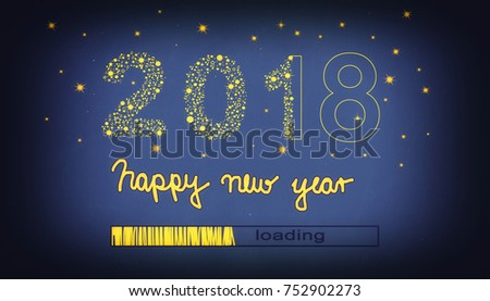 new year 2018 concept,  Loading Bar showing progress almost reaching new year 2018.  #752902273