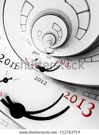 New 2013 year concept. Reversed spital with numbers. - stock photo