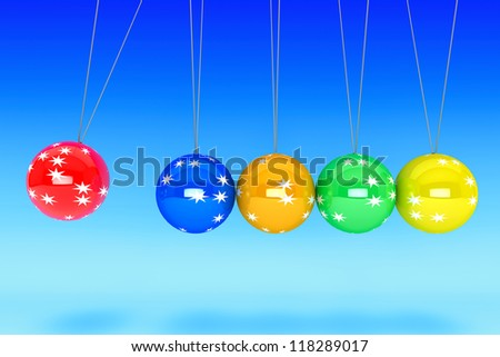 New Year concept. Spheres of Newton on a blue background