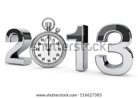 New year 2013 concept. 2013 steel sign with stopwatch on a white background